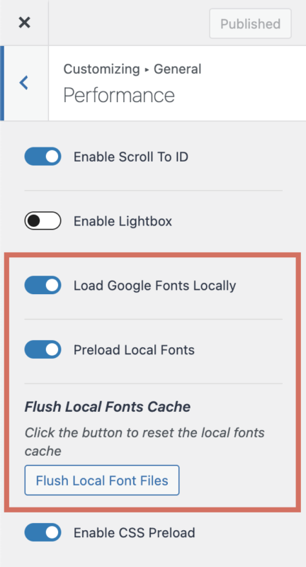Kadence- Theme Performance Load Google Fonts Locally and Preload Local Fonts