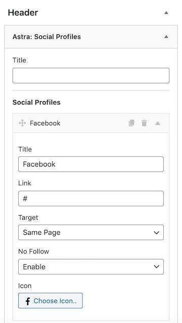 Astra Widgets Social Icon Header Setup