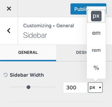 Kadence Sidebar Width Options
