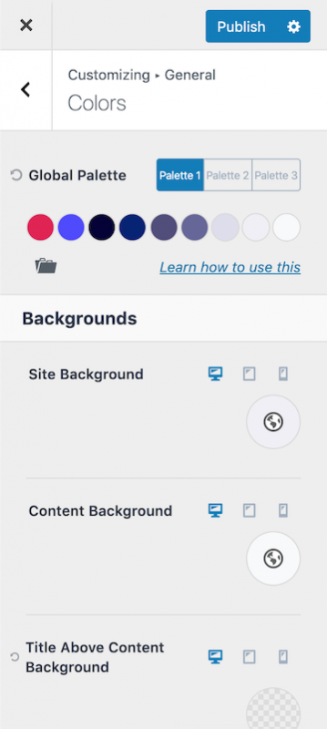 Kadence Theme Color Customization Options