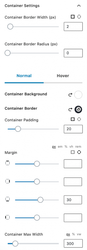 About the Author Bio Kadence Blocks Container Settings