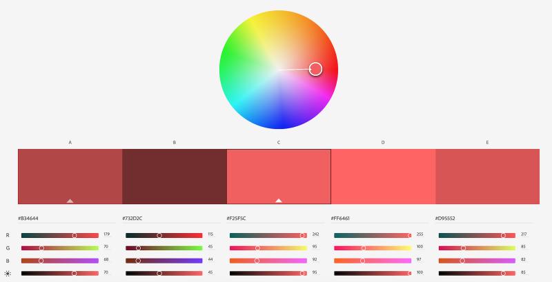 Adobe Color Wheel Accent Color Shades