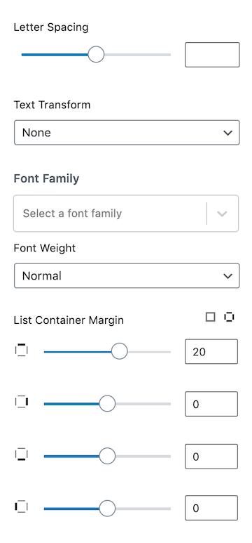 Kadence Table of Contents Block Tutorial List Settings 2