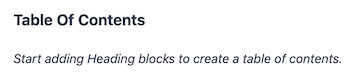 Kadence Table of Contents Block Tutorial Start Adding Headings