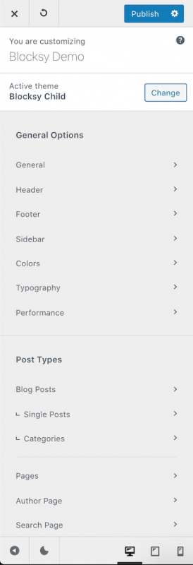 Blocksy Custom WordPress Customizer Light Theme