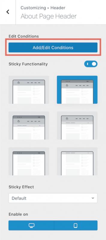 Blocksy Pro Conditional Headers Add Edit Conditions