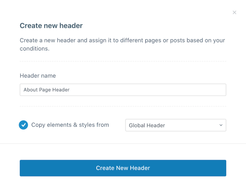 Blocksy Pro Create New Conditional Header Modal