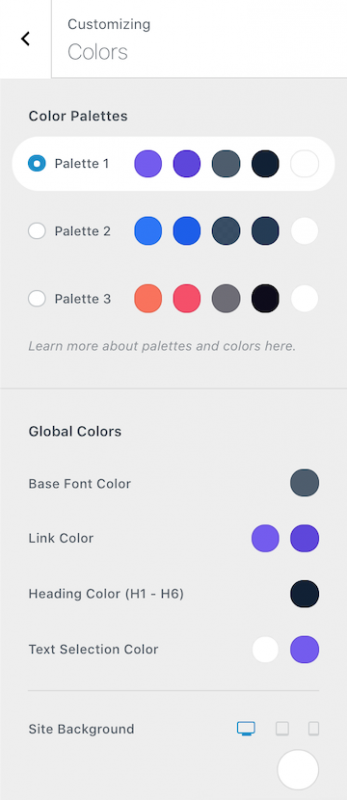 Blocksy Theme Review Global Color Palette Example