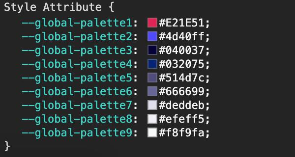 Kadence Global Palette CSS Variables