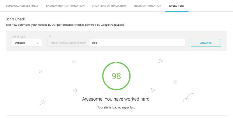 Best SG Optimizer Tutorial Performance Test Google PageSpeed Insights Score 98