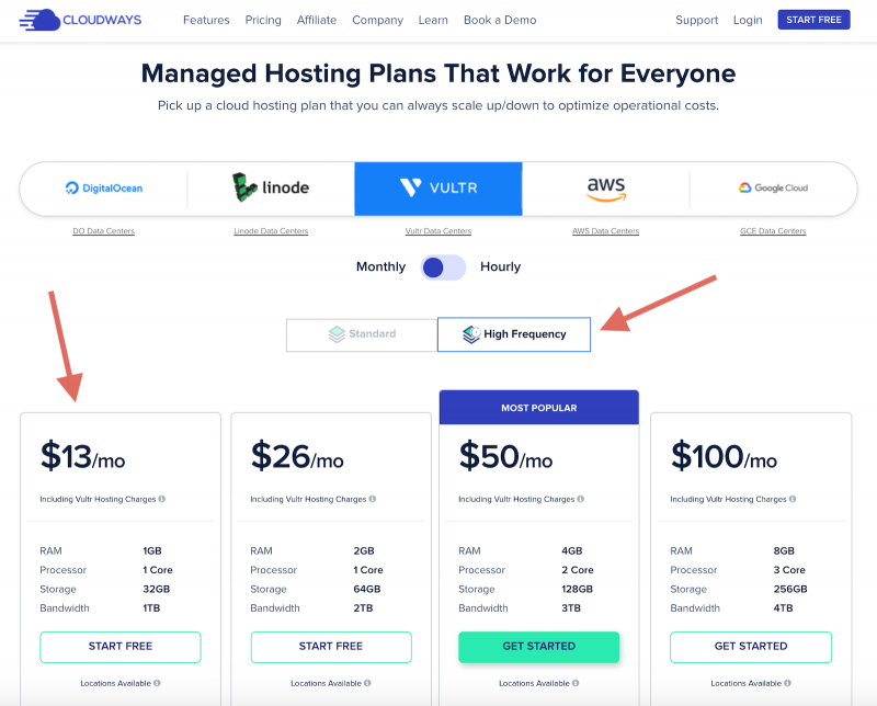 Cloudways Oricing Vultr HF High Frequency Server Start Free