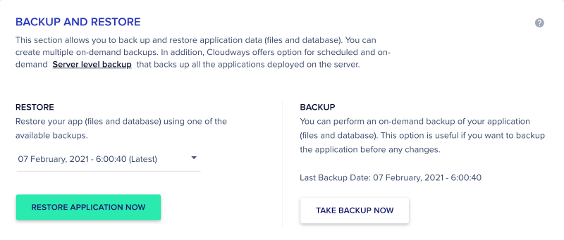 Cloudways Review Control Panel Application Management Backup and Restore Files and Database