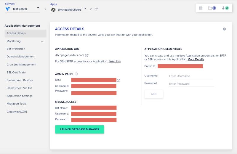 Cloudways Review Custom Control Panel Application Management Access Details Screen
