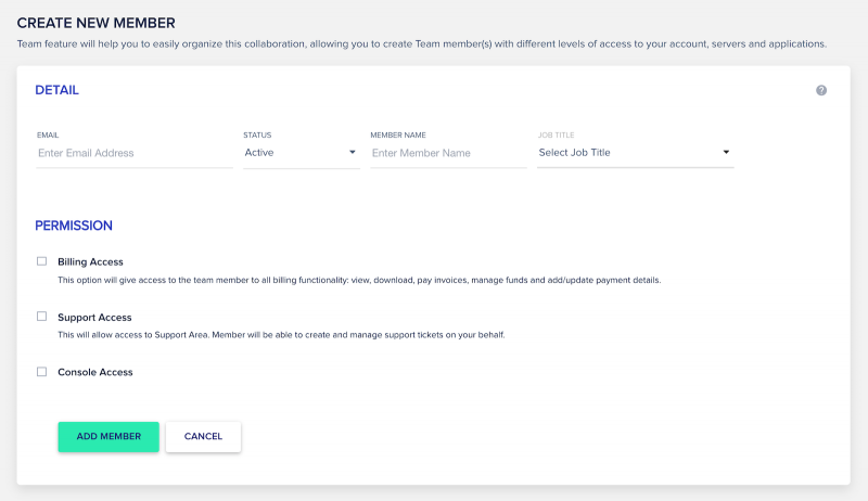 Cloudways Review Team Collaboration Create New Member Screen