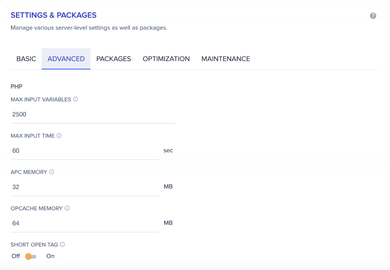 Cloudways Server Management Settings and Packages Advanced Tab