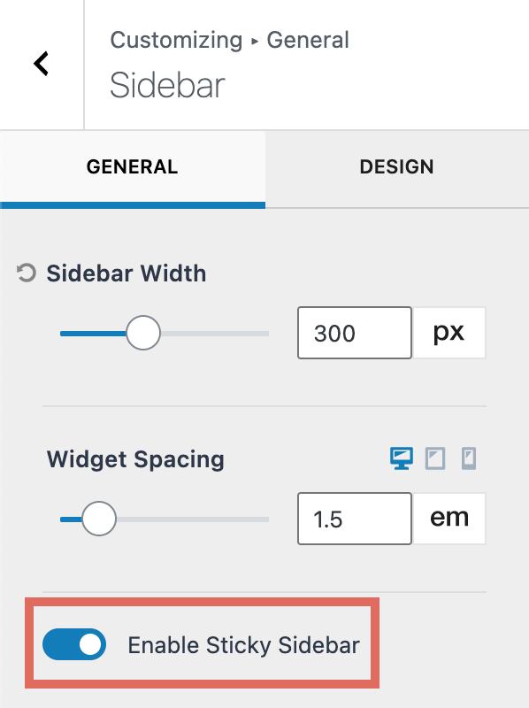 Enable Sticky Sidebar Kadence Theme Customizer
