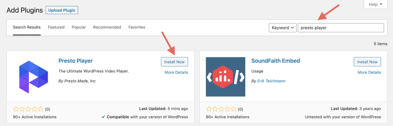 How To Install Free Presto Player WordPress Video Plugin