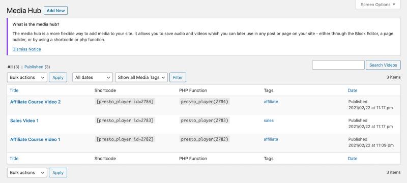 Presto Player Tutorial Media Hub Example With Tags