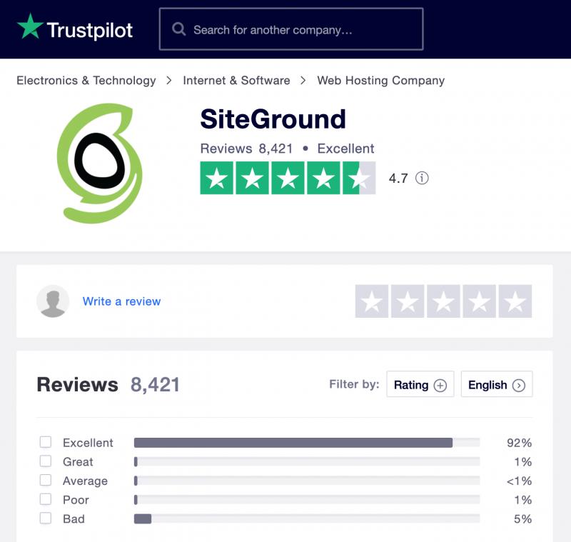 SiteGround Hosting Trustpilot Reviews