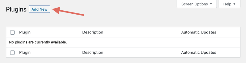 WordPress Add New Plugin Button