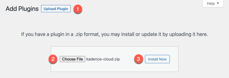 How to Upload and Install Kadence Cloud Plugin
