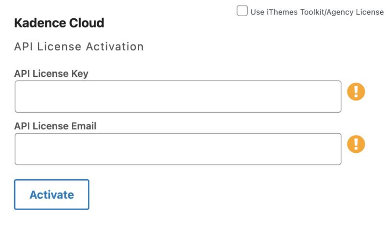 Kadence Cloud API License Activation