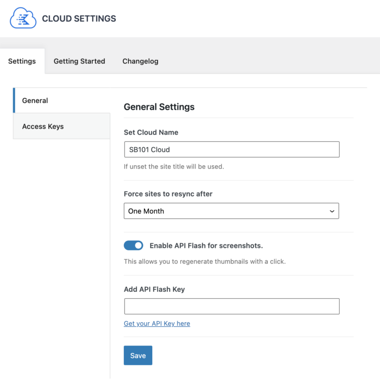 Kadence Cloud General Settings Set Cloud Name Force Sites to Resync Enable API Flash