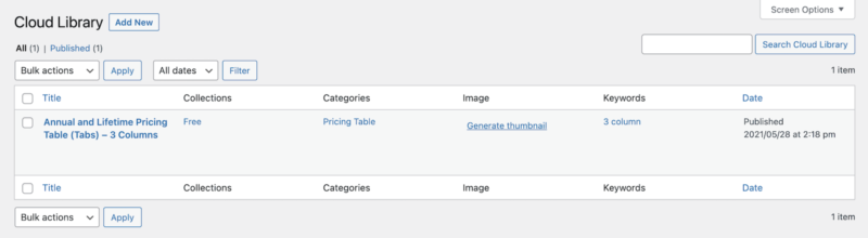 Kadence Cloud Library Example Pricing Table Template