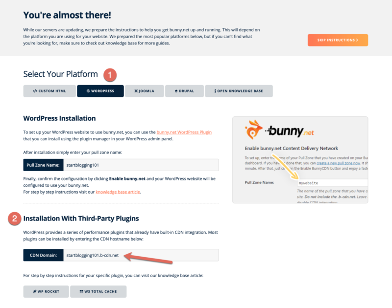 Bunny.net CDN Installation With Third-Party Plugins WP Rocket