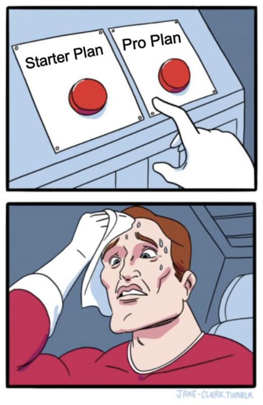 Conversion AI Starter Plan vs Pro Unlimited Plan Meme