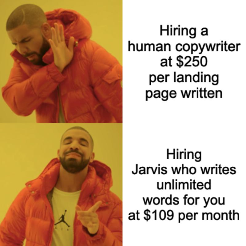 Human Copywriter vs Conversion AI Unlimited Pro Plan Drake Hotline Bling Meme