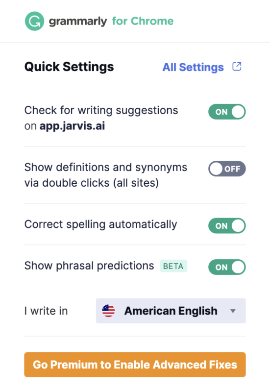 Grammarly Chrome Extension Enabled in Jarvis AI Application