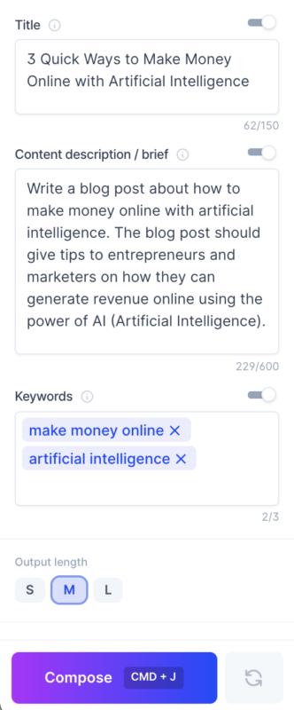 Jarvis AI Blog Post Template Title Content Description Keywords Output Length