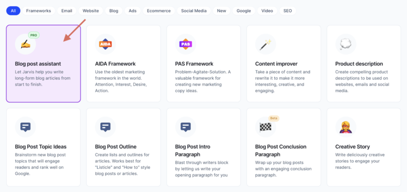 Jarvis AI  Copywriting Blog Post Assistant Template