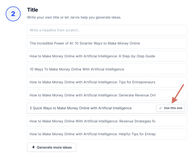 Jarvis AI Copywriting Generate Blog Post Titles Example