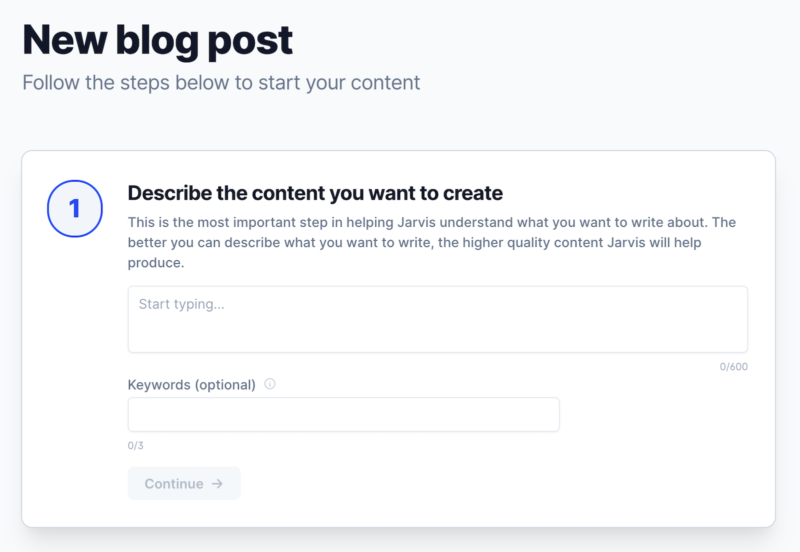 Jarvis AI New Blog Post Describe The Content You Want To Create