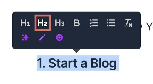 Jarvis AI Text Styling H2 Heading Element