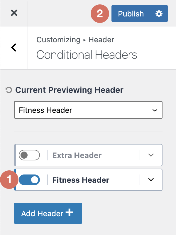 How to Publish New Kadence Conditional Header