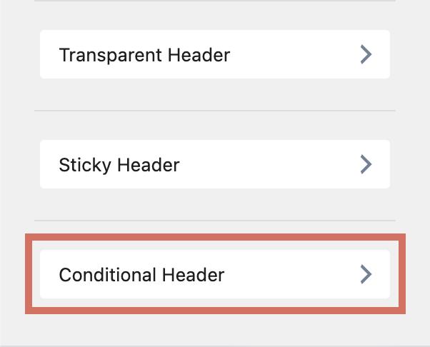 Kadence Conditional Header Customizer Option