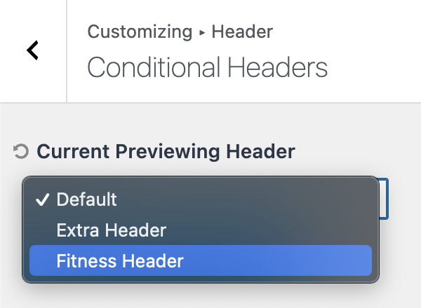Kadence Conditional Headers Current Previewing Header Options