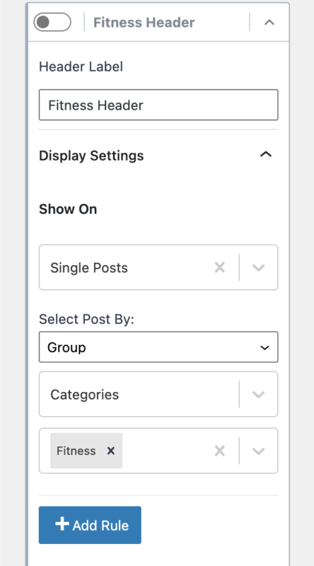 Kadence Conditional Headers Display Settings Show On Certain Categories